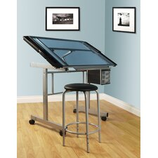 <strong>Studio Designs</strong> 2-Piece Vision Rolling Glass Drafting Table with Metal Support Bars