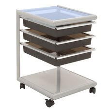 Futura Mobile Storage Cart in Silver, Black and Blue Glass