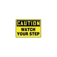 "X 14"" Black And Yellow Aluminum Value™ Fall Protection Sign Caution Watch Your Step"