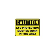 "X 14"" Black And Yellow Adhesive Vinyl Value™ Personal Protection Sign Caution Eye Protection Must Be Worn In This Area"