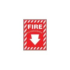 "X 7"" Red And White Plastic Value™ Extinguisher Sign Fire Extinguisher With Down Arrow"