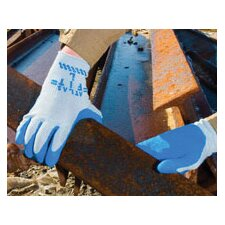 10 Blue Atlas Fit 300 Natural Rubber Palm Coated Work Gloves With Gray String Knit Liner, Knit Wrist And Rough Finish
