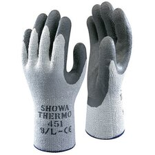 Size 7 Gray Seamless Cotton Thermal Flat Dipped Natural Rubber-Coated Work Gloves With Wrinkle Finish