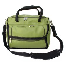 "Apple Green Leather Collection 14"" Piggy Back Carry On"