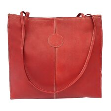<strong>Piel Leather</strong> Blushing Red Leather Medium Market Tote