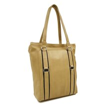 Women's Vertical Tote in Sand with Chocolate Trim