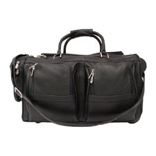 "<strong>Piel Leather</strong> Traveler 20"" Leather Travel Duffel with Pockets on Wheels"