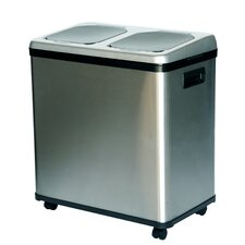Stainless Steel Dual-Compartment Recycle Bin