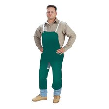 "X 48"" Green 12 Ounce Non-Durable Cotton And Leather Flame Retardant Apron With Waist Tie And Snap Leg Straps"