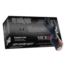 "Black 9.6"" MidKnight™ 4.7 mil Nitrile Ambidextrous Non-Sterile Powder-Free Disposable Gloves With Textured Fingers Finish And Beaded Cuffs (100 Each Per Box)"