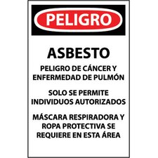"X 11"" Danger Asbestos… Hard Paper Hazardous Materials Sign In Spanish (100 Per Package)"