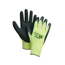 <strong>Perfect Fit</strong> Hi-Visibility Yellow And Black Tuff-Coat II™ Medium Weight Cotton And Polyester Rubber Coated Work Gloves