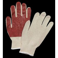 Natural Performers Extra™ Knit 13 Cut Light Weight Polyester/Cotton String Gloves With Knit Wrist And Single Side Rust PVC Full Palm Coating