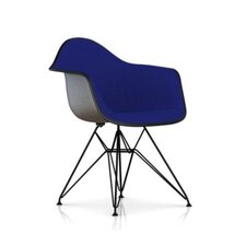 Eames Molded Fiberglass Upholstered Arm Chair with Wire Base