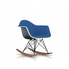 Eames Molded Fiberglass Upholstered Arm Chair with Rocker Base