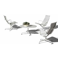"Eames 30"" Aluminum  Outdoor Dining Set with Universal Base and Lounge Chairs"