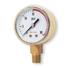 "1/2"" X 30 PSI Brass Red Line Replacement Regulator Gauge"