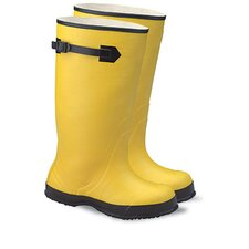 "13 Yellow 17"" Rubber Plain Toe Over-The-Shoe-Boot With Fabric Inner Lining, Side Strap And Black Ribbed Outsole"