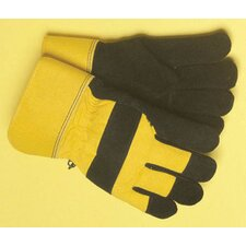 Black And Yellow Leather And Canvas Thinsulate® Lined Cold Weather Gloves With Safety Cuffs And Waterproof Barrier