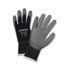 Gray Premium Polyurethane Palm Coated Work Gloves With 15 Gauge Nylon Liner