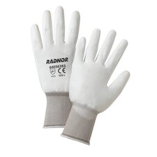 <strong>Radnor</strong> White Premium Polyurethane Palm Coated Work Gloves With 15 Gauge Nylon Liner