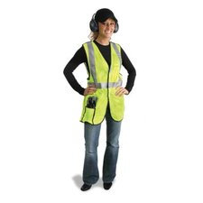 "Yellow Polyester Breakaway Vest With Front, Top And Side Hook And Loop Closures, 2"" 3M™ Scotchlite™ Reflective Stripes, 1 Outside Pocket And 1 Inside Pocket"