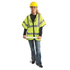 "Yellow Polyester Mesh Economy Class 3 Vest With Front Zipper Closure, Short Sleeves, 2"" Silver Beaded Tape And 2 Inside Pockets"