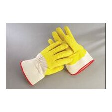 <strong>Radnor</strong> Yellow/White Economy Rubber Palm Coating Wrinkle Finish Canvas Work Glove With Safety Cuff