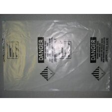 "38"" X 63"" 6 Mil Clear Polyethylene Printed Asbestos Removal Bag"