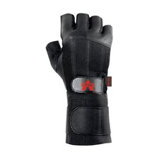 Black Pro Fingerless Full-Leather Anti-Vibe Gloves With AV GEL™ Padding And Wrist Wrap And Loop Cuff