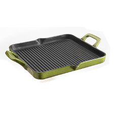 Cast Iron Rectangular Grill Pan in Olive Green