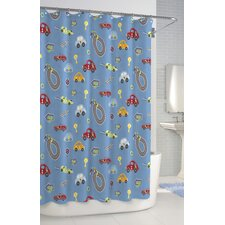 <strong>Kassatex Fine Linens</strong> Bambini Race Track Cotton Shower Curtain