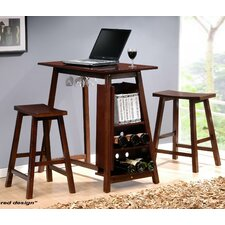 <strong>New Spec Inc</strong> 3 Piece Minibar Pub Table Set