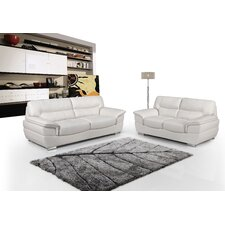 Calbeau Leather Sofa and Loveseat Set