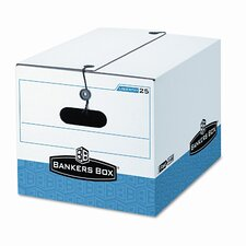 Storage Box, Legal/Letter, Tie Closure, White/Blue, 4/Ctn
