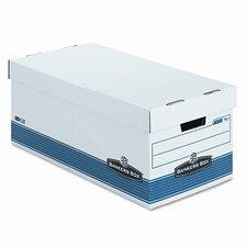 "FastFold Stor/File Lid Box, Letter, 12"" x 24"" x 10"", White/Blue, 4/Ctn"
