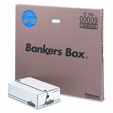 <strong>Bankers Box®</strong> Liberty Basic Storage Box, Check/Voucher, 9 x 14-1/4 x 4, White/Blue, 12/Ctn