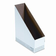 Corrugated Cardboard Magazine File, 3-7/8 x 9-1/4 x 11-3/4, White, 12/Ctn