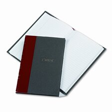 Record/Account Book, Black/Red Cover, 144 Pages, 7-7/8 x 5-1/4