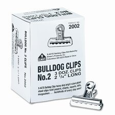 "<strong>Boston®</strong> Bulldog Clips, Steel, 1/2"" Capacity, 2-1/4""w, Nickel-Plated, 36/box"