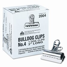 "Bulldog Clips, Steel, 1"" Capacity, 3""w, Nickel-Plated, 12/box"
