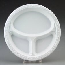 "(125 Per Container) 10.25"" 3 Compartment Plastic Plates in White"