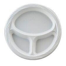 "10.25"" Round Plastic Plates with 3 Compartments in White"