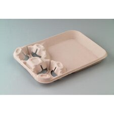 StrongHolder Molded Fiber 2-Cup Narrow Carrier with Food Tray
