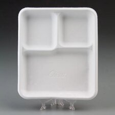 Heavy-Weight Molded Fiber Café Tray with 3 Compartment