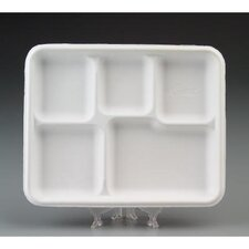 Heavy-Weight Molded Fiber Café Tray with 5 Compartment
