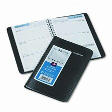 Weekly Appointment Book, Hourly Appointments, Nonrefillable, 4-7/8 x 8, Black, 2014
