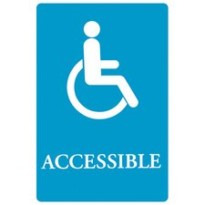 Tactile Symbol / Braille ADA Wheelchair Accessible Sign in Blue and White