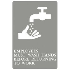 """Employees Must Wash Hands..."" Tactile Symbol ADA Sign in Gray and White"