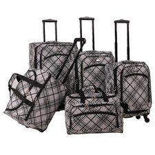 Silver Stripes 5 Piece Luggage Set